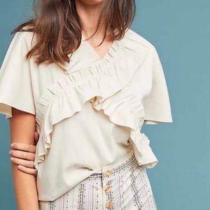 WRAY abstract ruffled silk blouse tan cream large